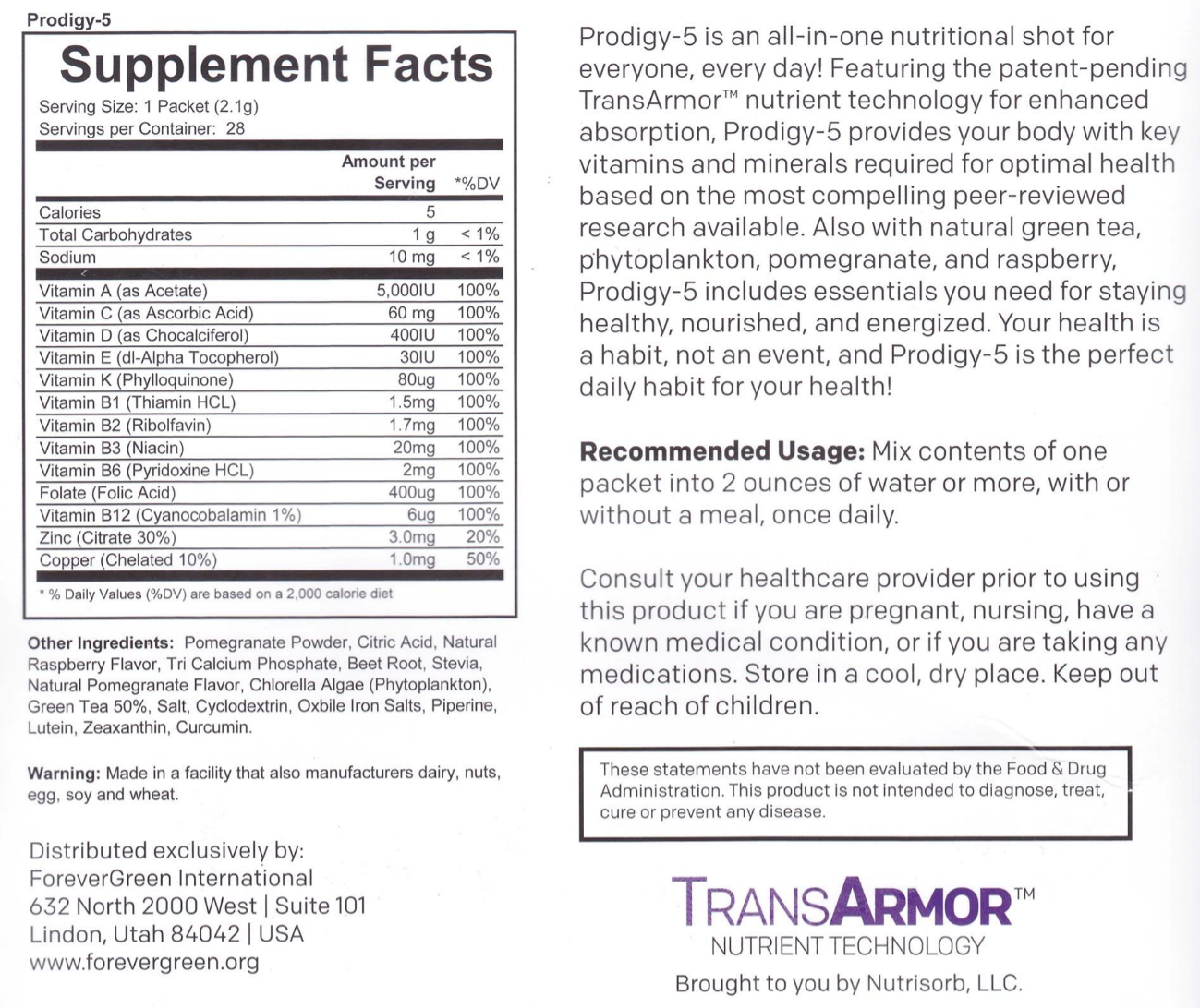Prodigy5 Supp Facts
